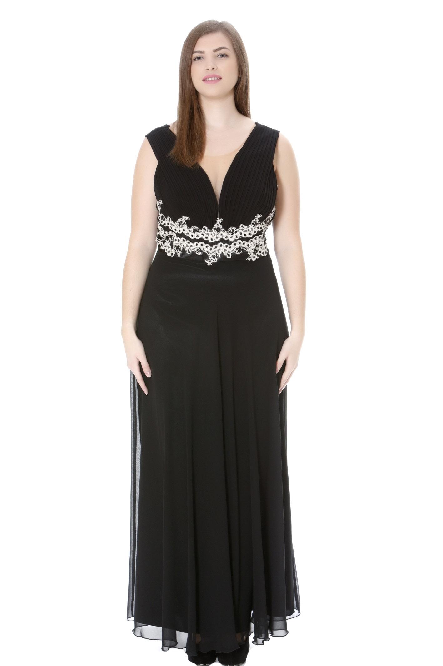 2aecdb1c0f0c Φόρεμα maxi Μουσελίνα Αμάνικο Εσωτερική σατέν φόδρα Μαύρο χρώμα Πλισέ  μπούστο και δαντέλα με στρας στην