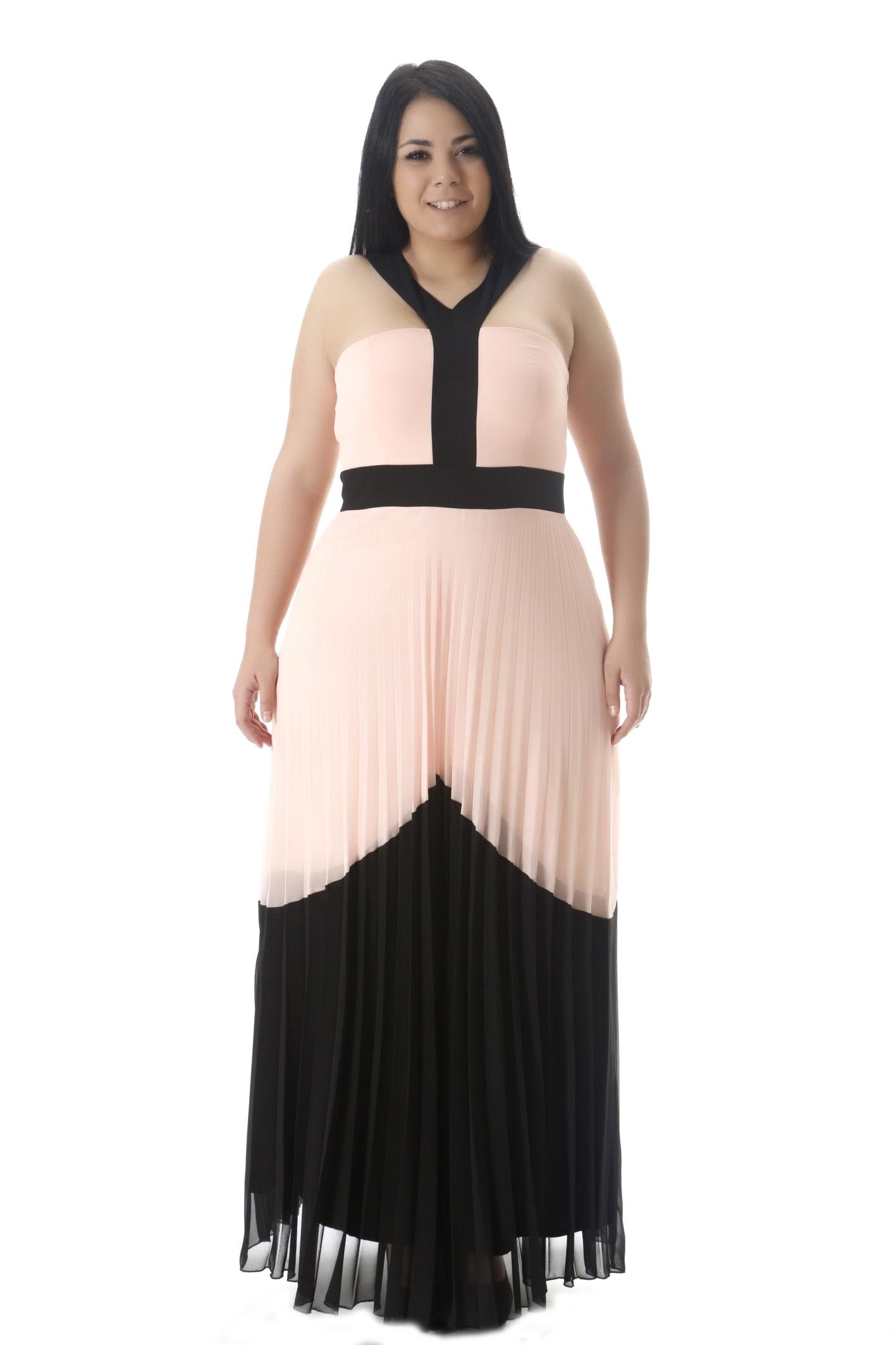 Maxi φόρεμα πούδρα μαύρο πλισέ 5de50c0eb25