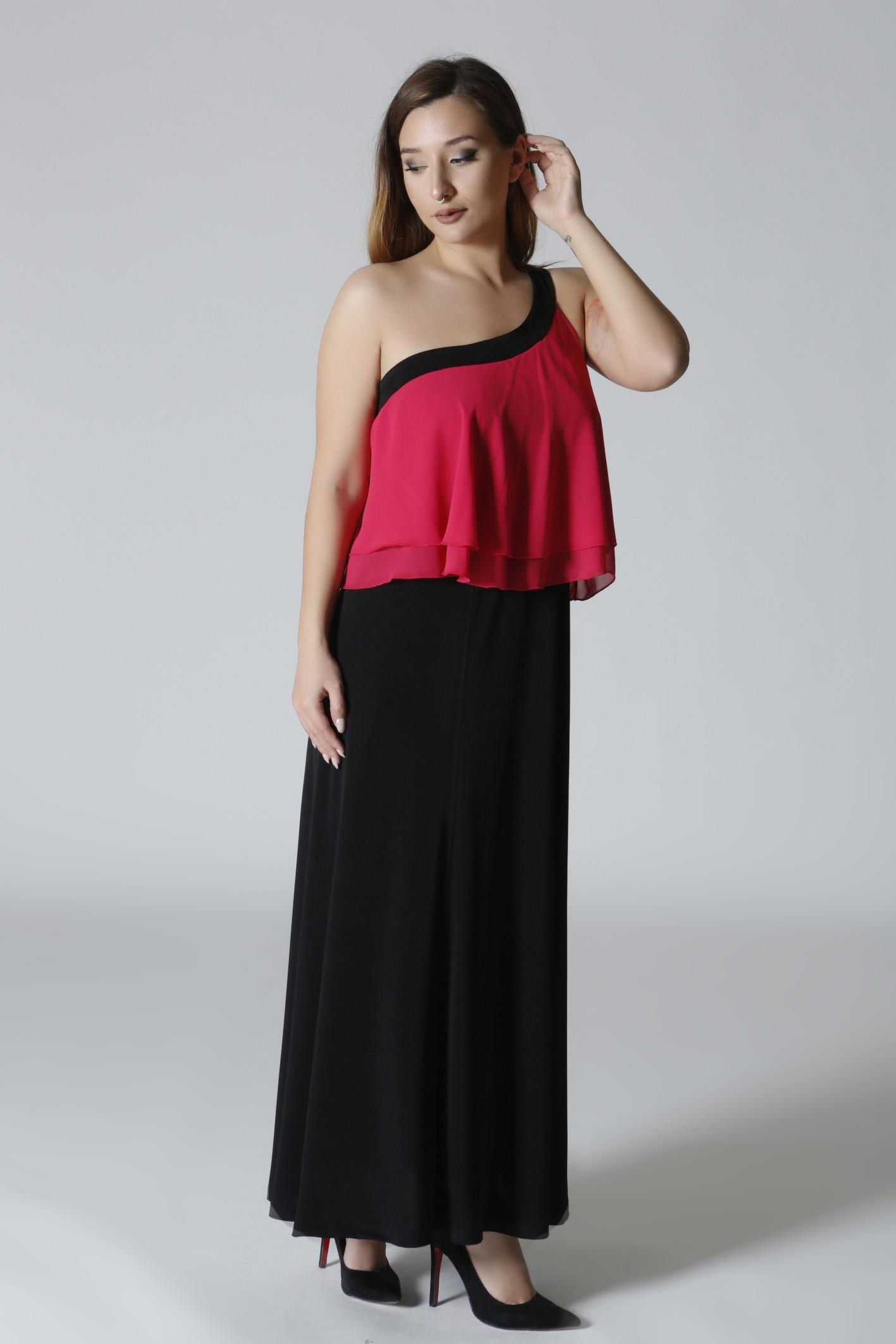 586ba2ff220b Maxi φόρεμα μαύρο φούξια