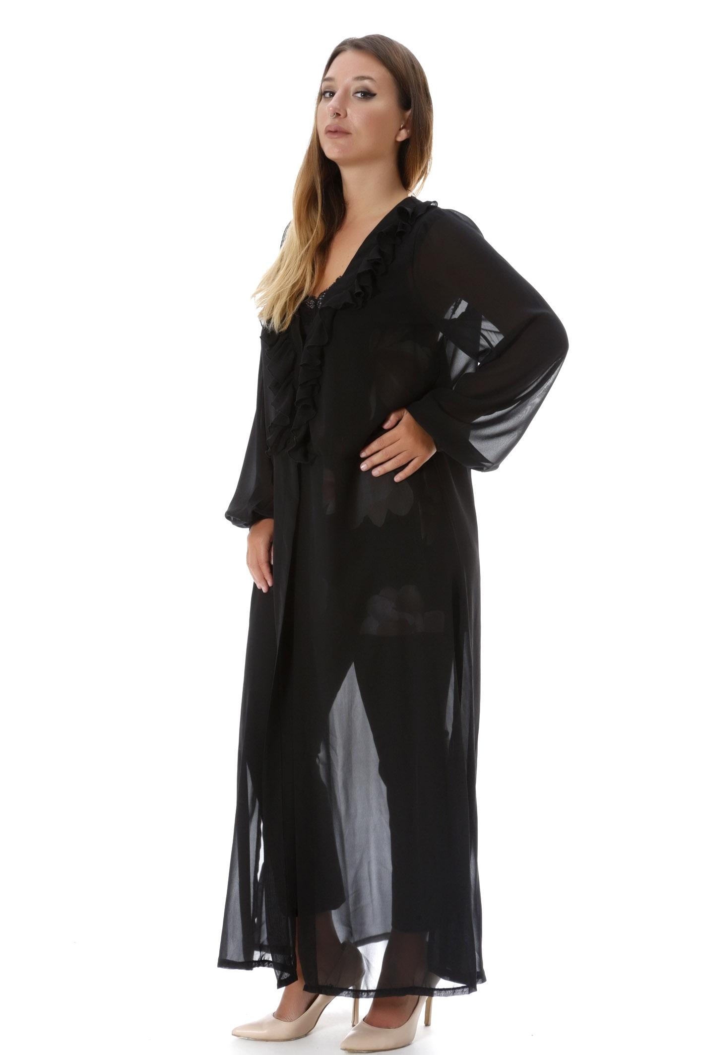 Maxi τουνίκ με βολάν μαύρη νέες αφίξεις   ενδύματα   μπλούζες   sunrose   brands