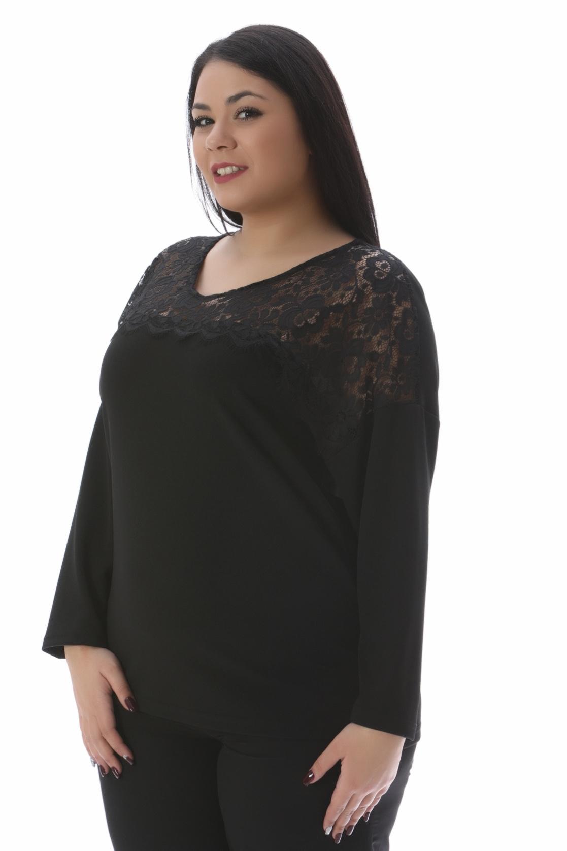 Μπλούζα με δαντέλα μαύρη νέες αφίξεις   ενδύματα   μπλούζες