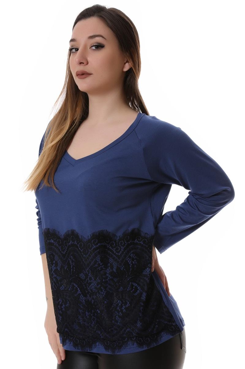 Μπλούζα με δαντέλα μπλε νέες αφίξεις   ενδύματα   μπλούζες   sunrose