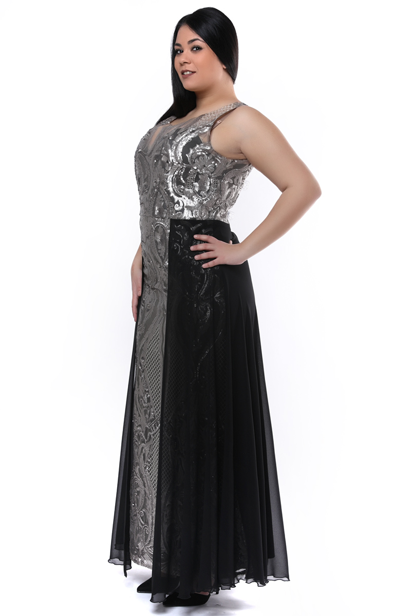 59ae7bc5319c Maxi φόρεμα με παγιέτες ασημί