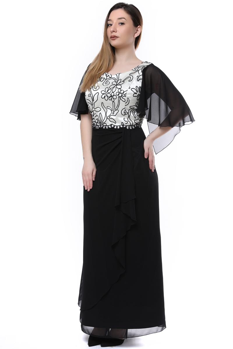 Maxi φόρεμα με δαντελένιο μπούστο