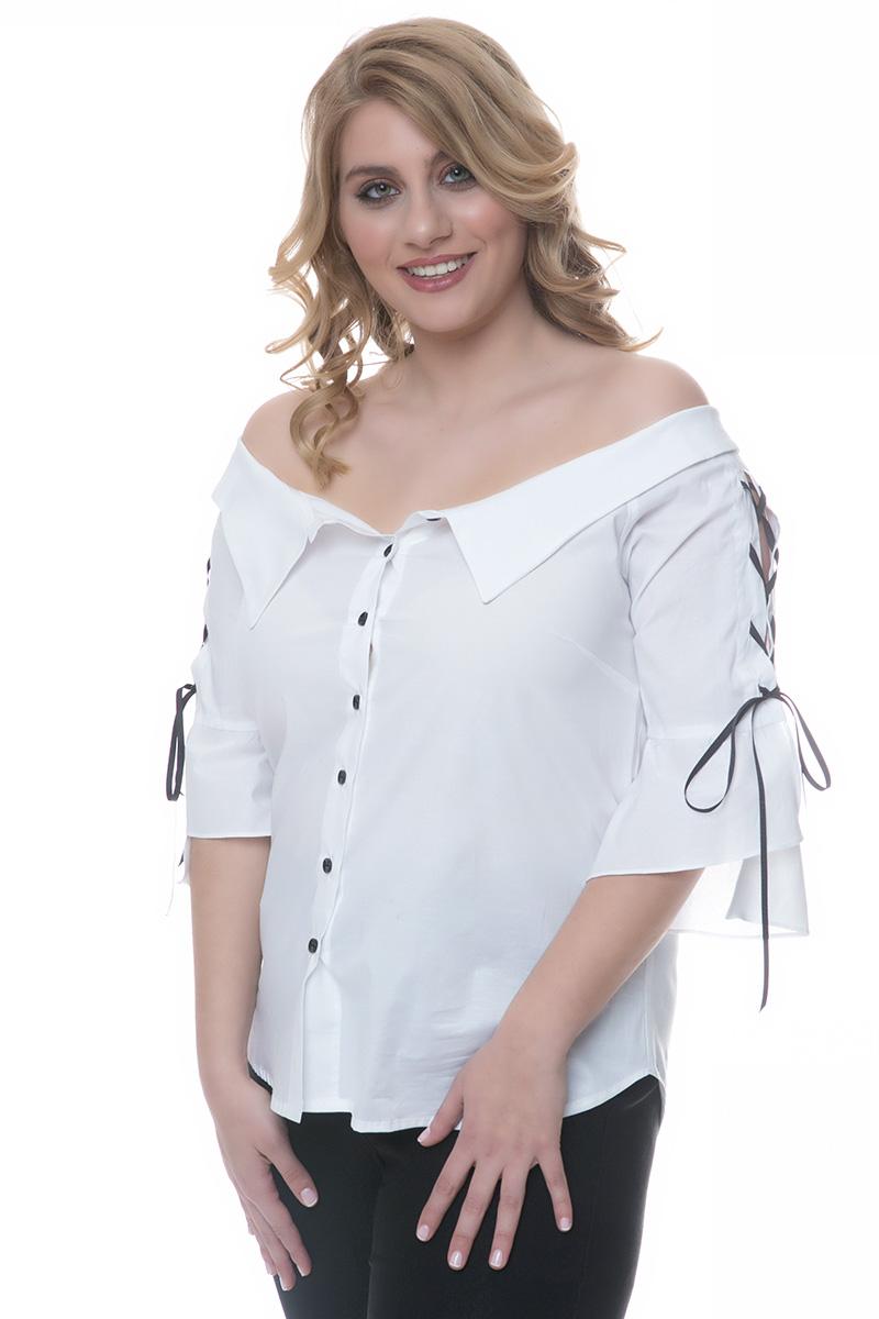 Πουκάμισο off-shoulders Χρώμα λευκό Διαθέτει τελείωμα τύπου γιακά Μακριά μανίκια με μανσέτες Ίσια γραμμή με καμπύλες στο τελείωμα Σταθερό ύφασμα Σύνθεση97%COT 3%SP Η γραμμή είναι κανονική - Συμβουλευτείτε το μεγεθολόγιο.Κατάλληλο για all-day chic εμφανίσεις!Διαθέσιμα μεγέθη από S έως 3XL.Το μοντέλο έχει ύψος 1.75cm και φοράει μέγεθος S.