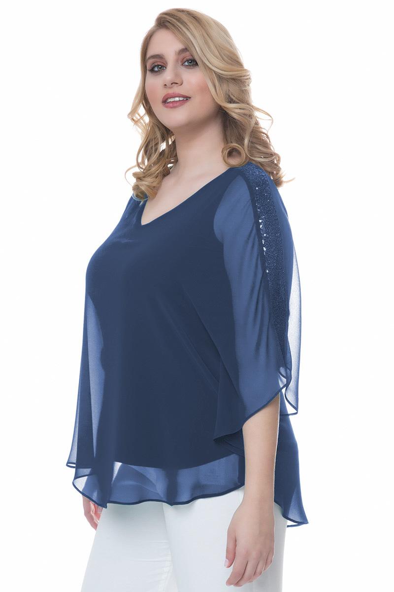 5b07778832ca Μπλούζα Χρώμα μπλε Διαθέτει σχέδιο στο πίσω μέρος με παγιέτες 3 4 μανίκια  με βολάν