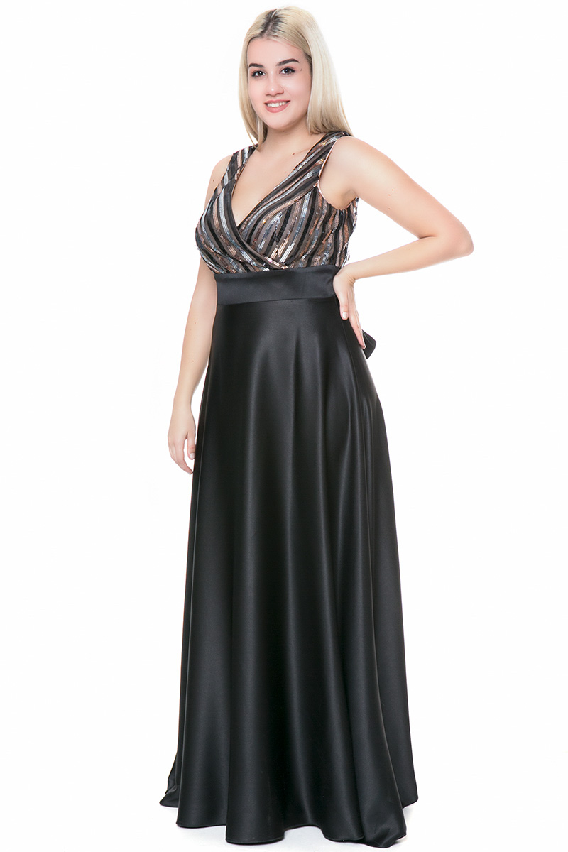8117bfd967ed Φόρεμα maxi Μαύρο χρώμα Μπούστο όλο παγέτα Φούστα σατέν Αμάνικο Ζώνη στην  μέση V λαιμόκοψη Σταθερό
