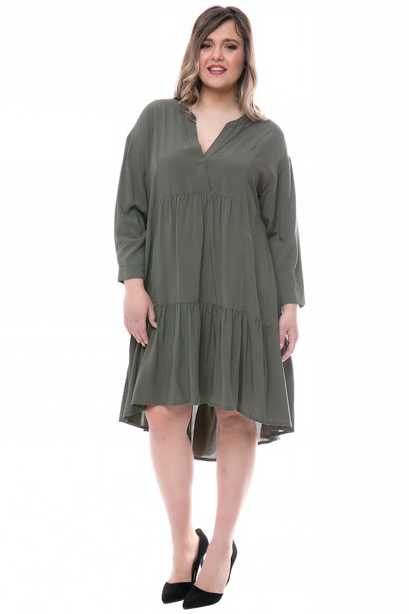 c875103d4a29 Φόρεμα midi Χρώμα χακί 3 4 μανίκια Διαθέτει τελείωμα με βολάν Ανοιχτή  λαιμόκοψη Σταθερό ύφασμα