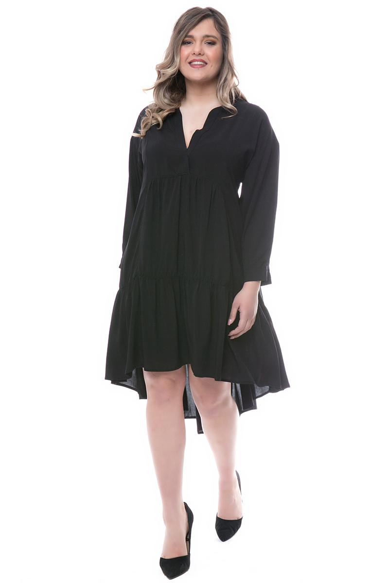 4c2aa2b6b3cc Φόρεμα midi Χρώμα μαύρο 3 4 μανίκια Διαθέτει τελείωμα με βολάν Ανοιχτή  λαιμόκοψη Σταθερό ύφασμα
