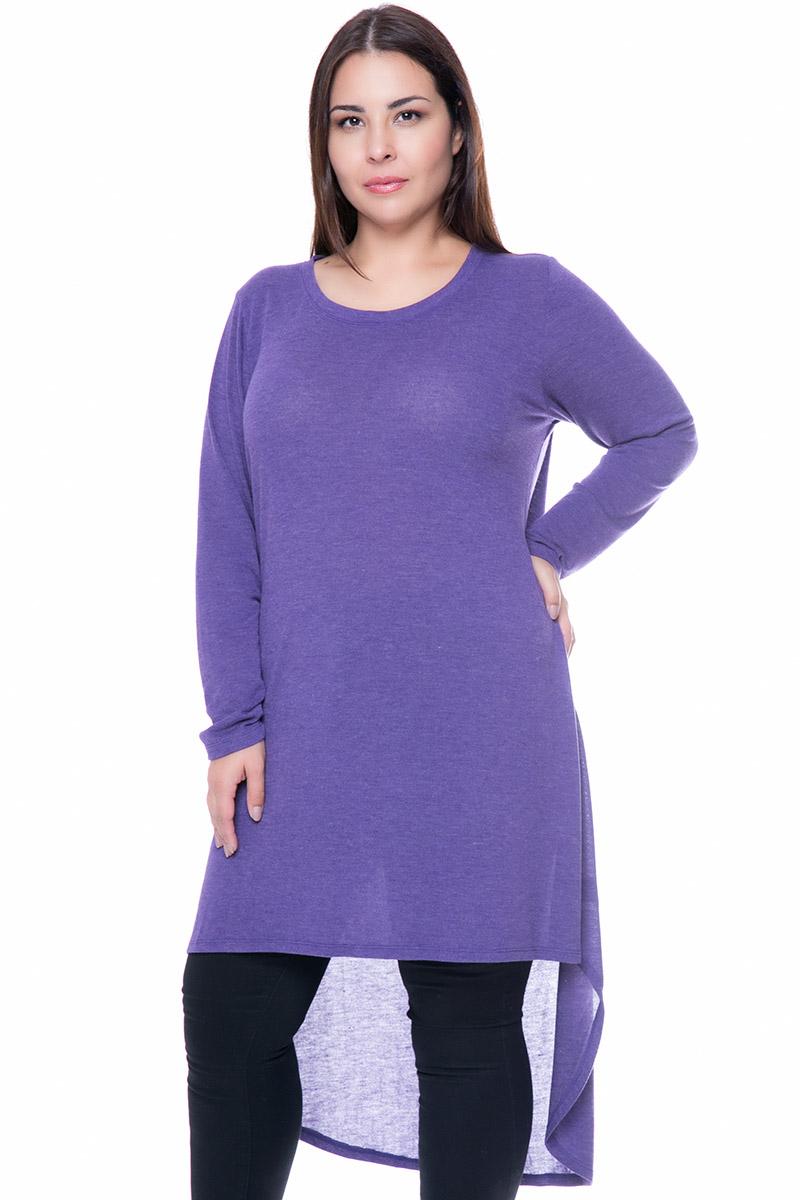 e4ca2c9c366f Ασύμμετρο μπλουζοφόρεμα σε μωβ χρώμα