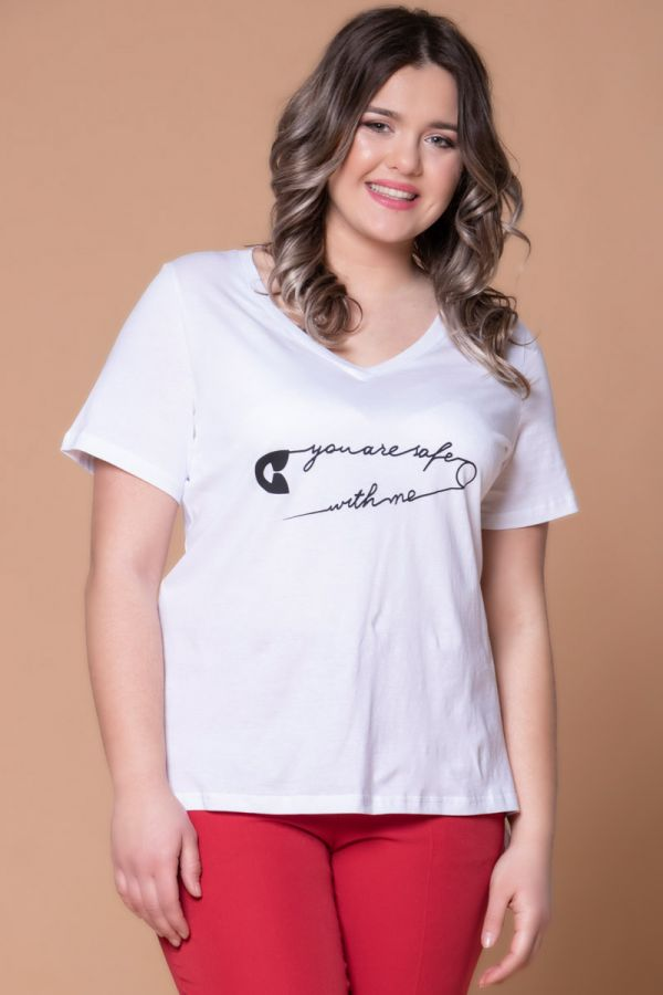 Hi-lo t-shirt με τύπωμα ''You are safe with me'' σε λευκό χρώμα