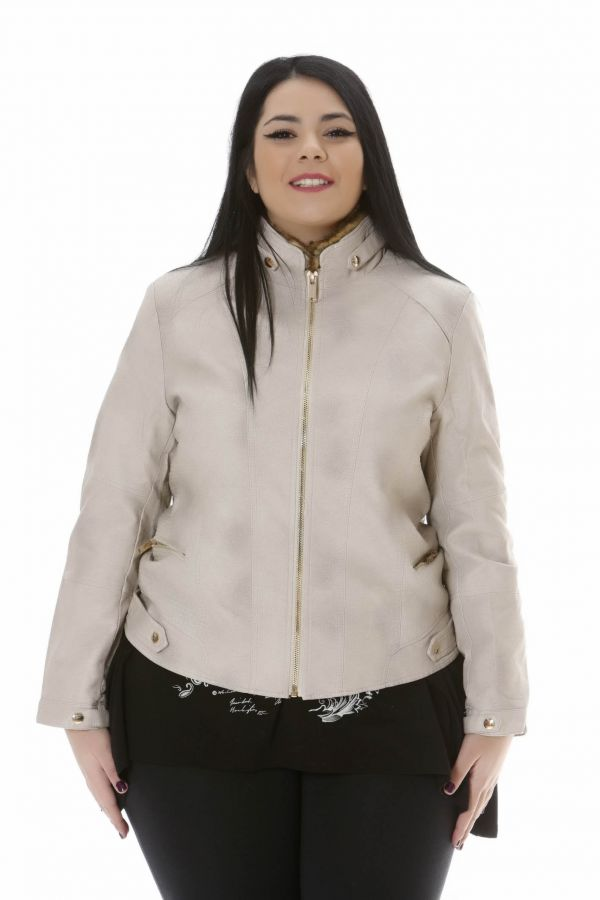 Leather-like jacket μπεζ