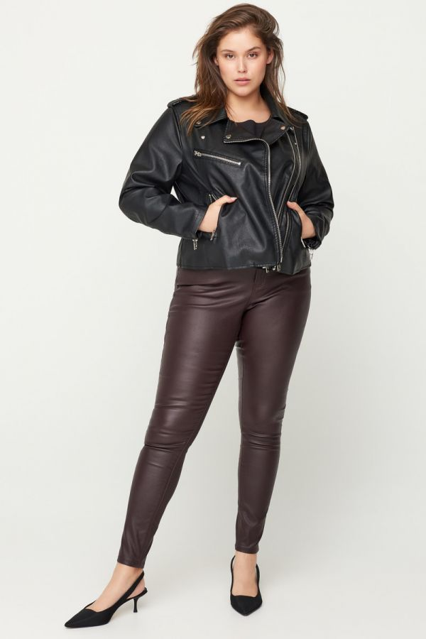 Μαύρο leather-like jacket τύπου perfecto