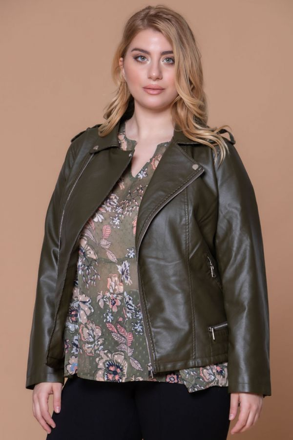 Χακί leather-like jacket τύπου perfecto