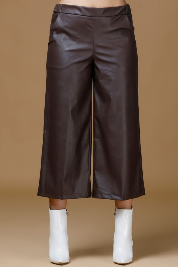 Leather-like zip culotte σε καφέ χρώμα