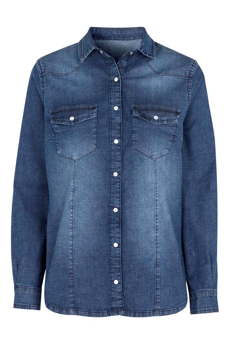 Jean πουκάμισο Σε denim blue χρώμα Μακρύ μανίκι Λαιμόκοψη με γιακά Κλείνει με κουμπιά Διαθέτει δύο τσέπες Ίσια γραμμή Ελαστικό ύφασμα Σύνθεση: 98% COT 2%ELA Η γραμμή είναι κανονική. Συμβουλευτείτε το μεγεθολόγιο. Ιδανικό για ανοιξιάτικες καθημερινές εμφανίσεις. Διαθέσιμα μεγέθη από 38/40 έως 62/64 Το μοντέλο έχει ύψος 1.75 και φοράει μέγεθος 38/40