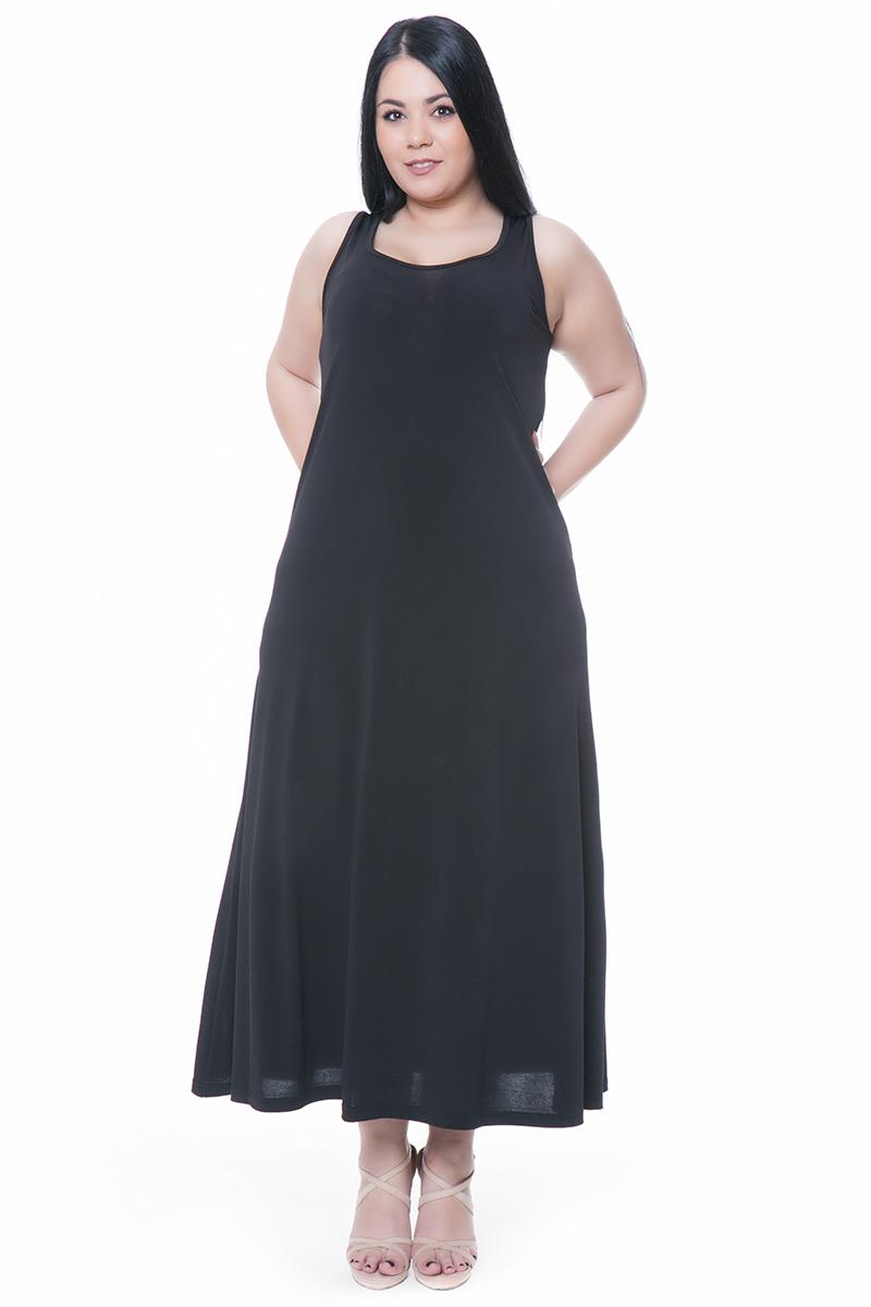 9114c600bf16 Μαύρο maxi αμάνικο φόρεμα