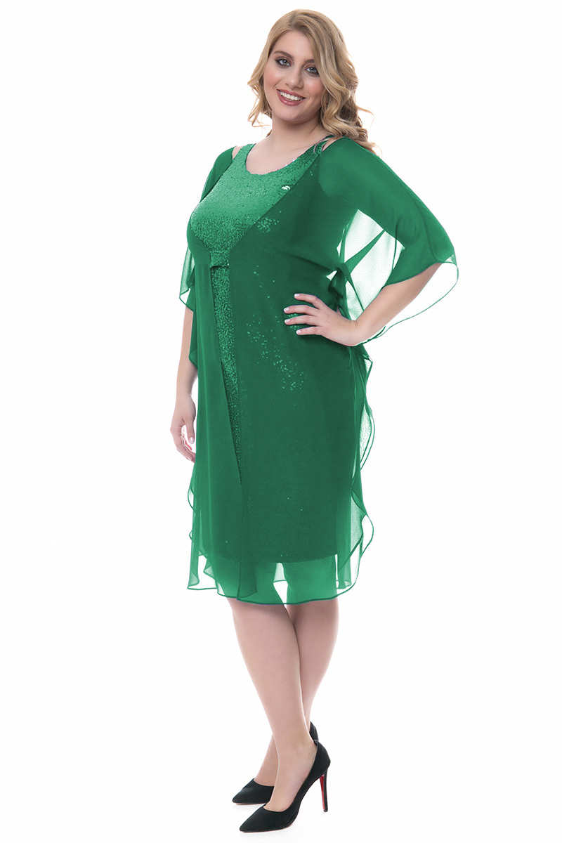 a74499ef7838 Midi πράσινο φόρεμα με παγιέτες και μουσελίνα