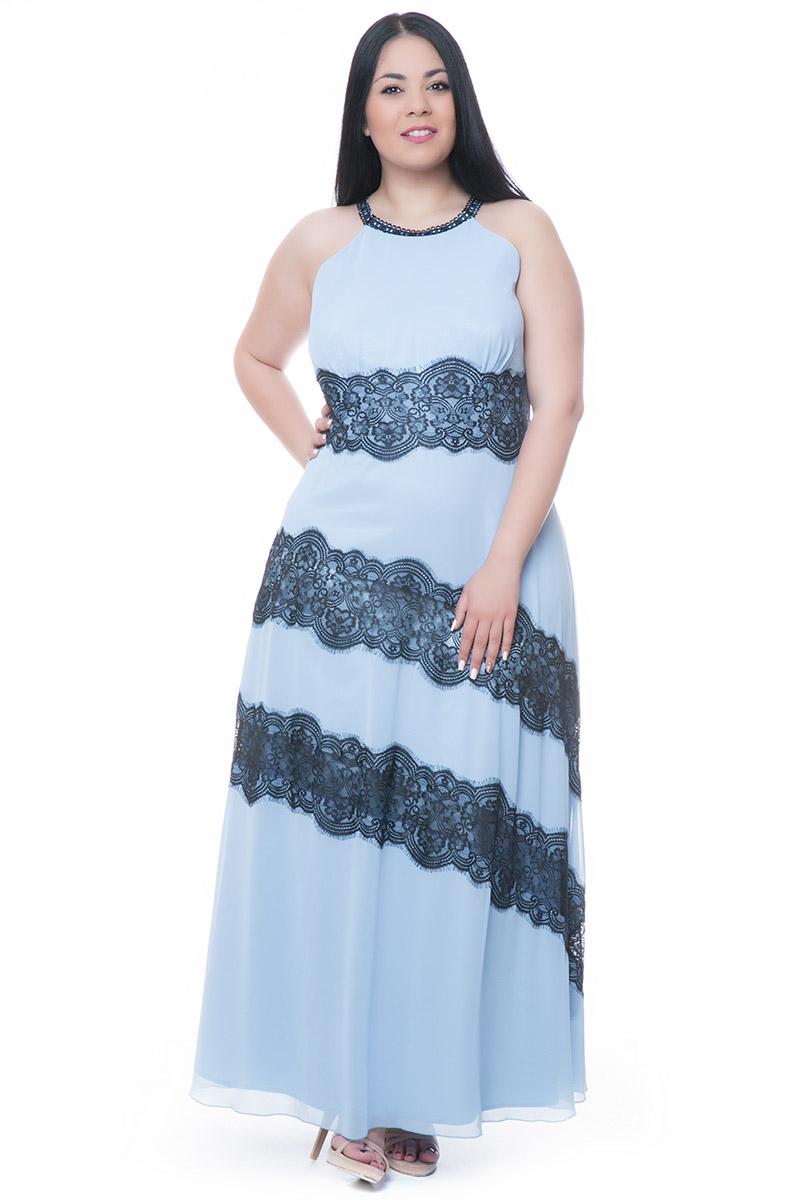 a0e0624ce37c Maxi σιέλ φόρεμα με παρτούς ώμους