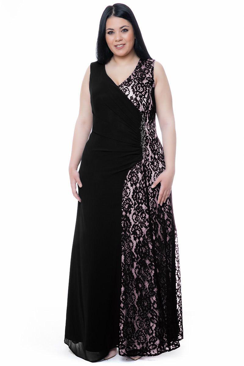 3edd858164b3 Φόρεμα maxi με δαντέλα και στρας μαύρο πούδρα