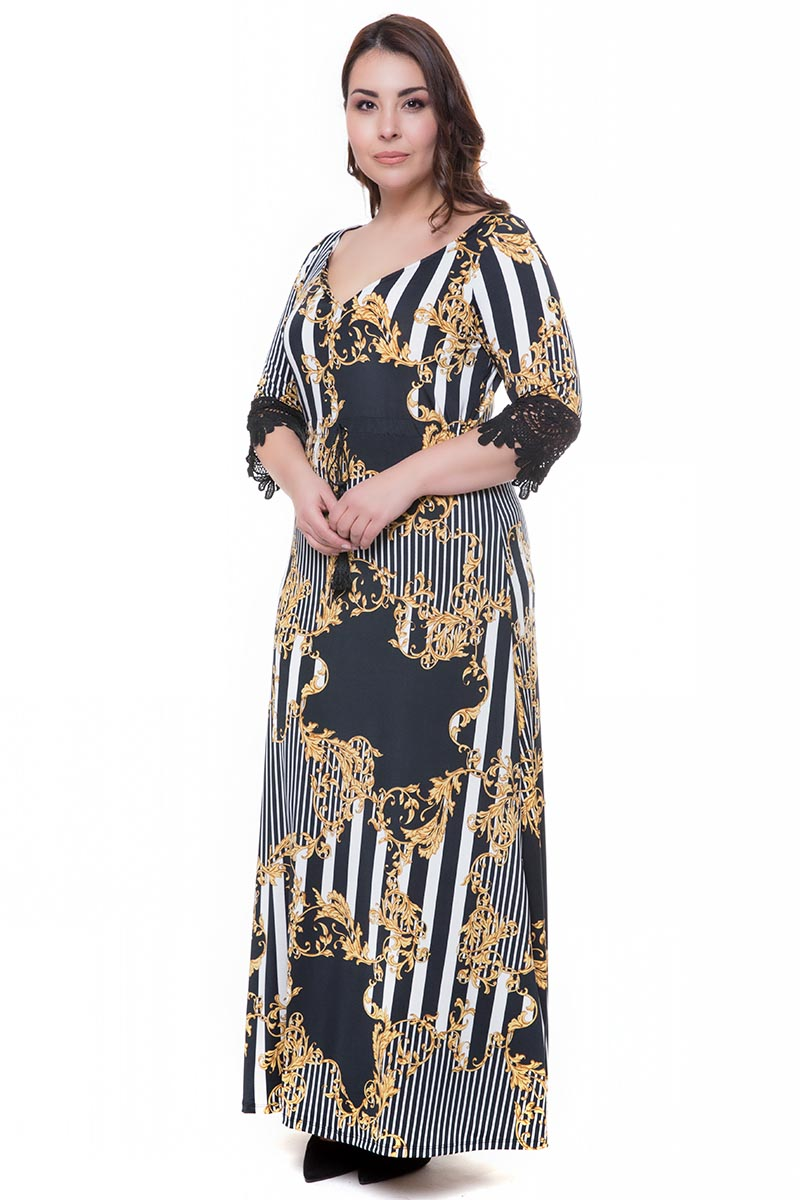 739c4008d596 Maxi ελαστικό φόρεμα σε μαύρο άσπρο χρώμα με δαντέλα