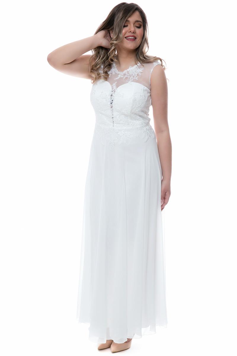 590fd079b693 Φόρεμα maxi Λευκό χρώμα Διαθέτει δαντέλα στο μπούστο Άνοιγμα στο πίσω μέρος  Κλείσιμο με φερμουάρ και