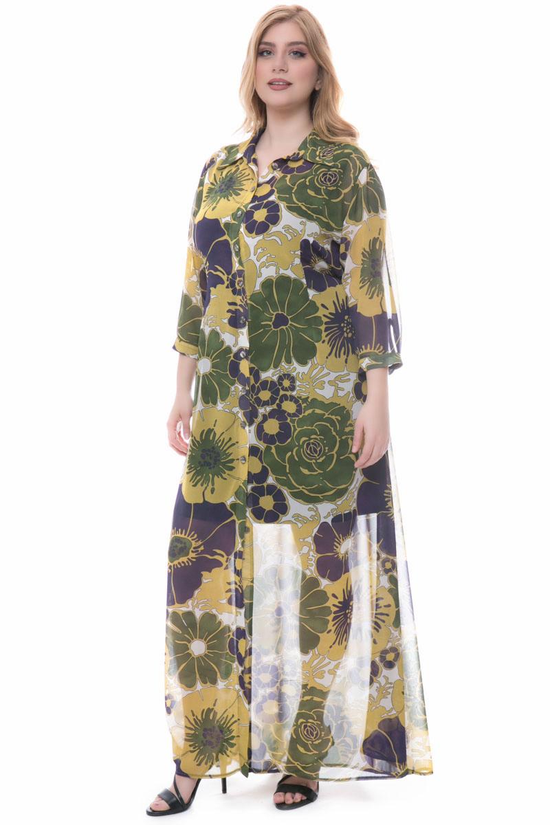 ee8a9dc96a2f Φόρεμα maxi Εμπριμέ Ημιδιάφανο 3 4 μανίκια Κουμπάκια κατα μήκος Κλειστή  λαιμόκοψη και γιακάς Σταθερό