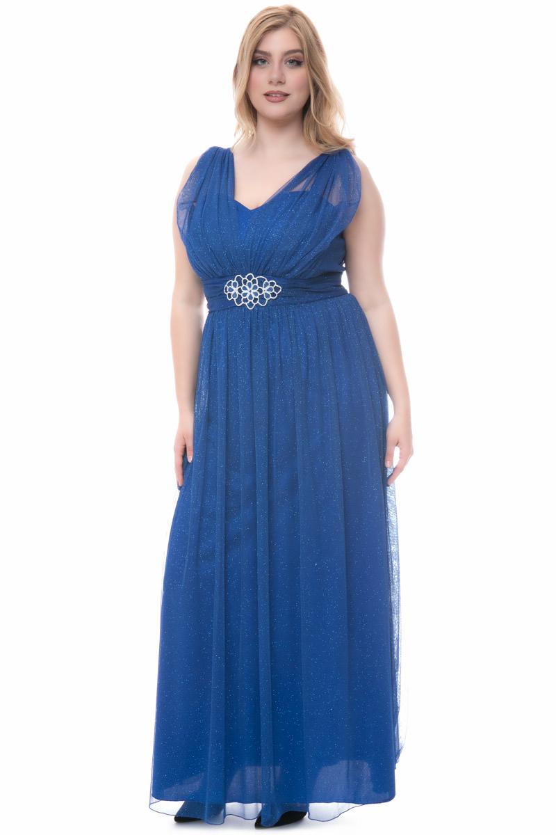 80d5ae3e5a4 Φόρεμα maxi Μπλε χρώμα Τούλι με glitter Εσωτερική φόδρα με cups Ζώνη με  αγκράφα λουλούδι Αμάνικο