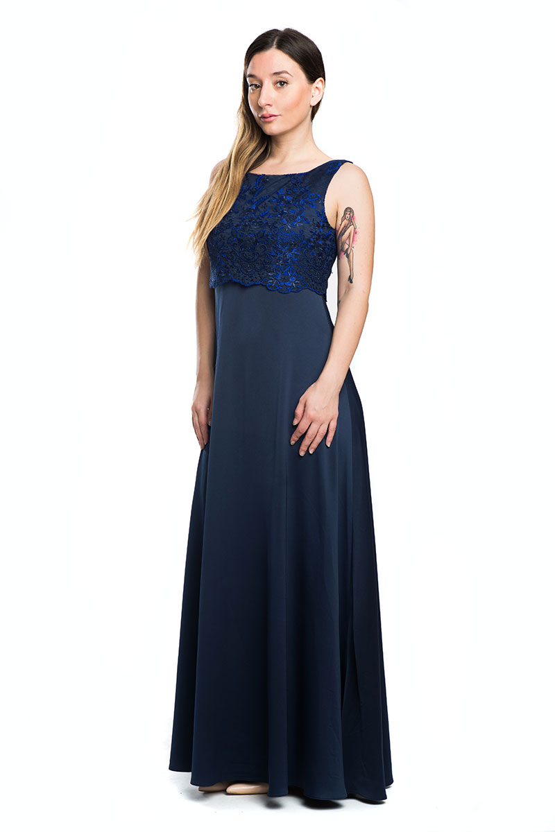 f60c802b51da Φόρεμα Μπλε χρώμα Maxi Αμάνικο Ανοιχτή λαιμόκοψη Μπούστο με δαντέλα Δέσιμο  στο πίσω μέρος Κουμπώνει με