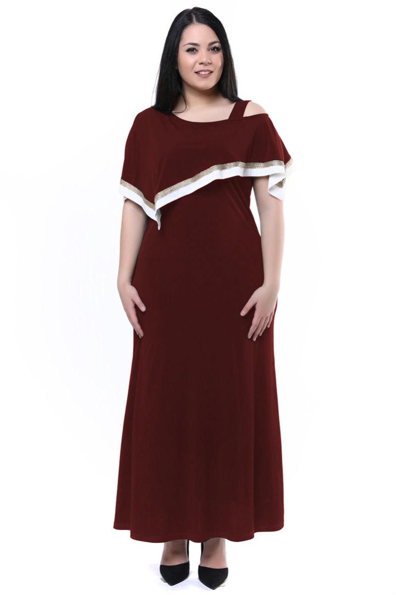 Maxi φόρεμα με ριγέ λεπτομέρειες μπορντώ 0878c8cb378