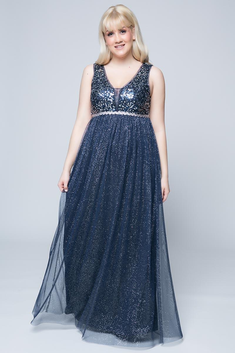 aa98fafb3c43 Φόρεμα maxi Μπλε χρώμα Διαθέτει τουλι και παγιέτες Σχέδιο στην μέση με στρας  Φερμουάρ στο πίσω