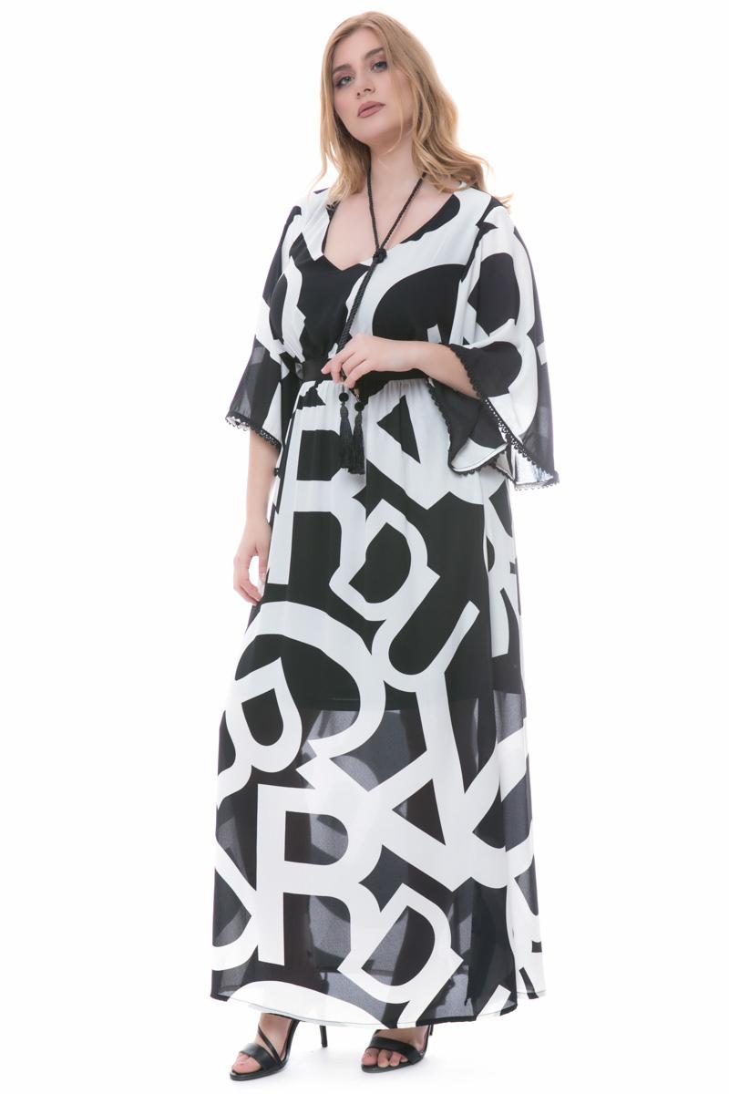 54afd1edfab7 Maxi μαύρο άσπρο φόρεμα με γράμματα