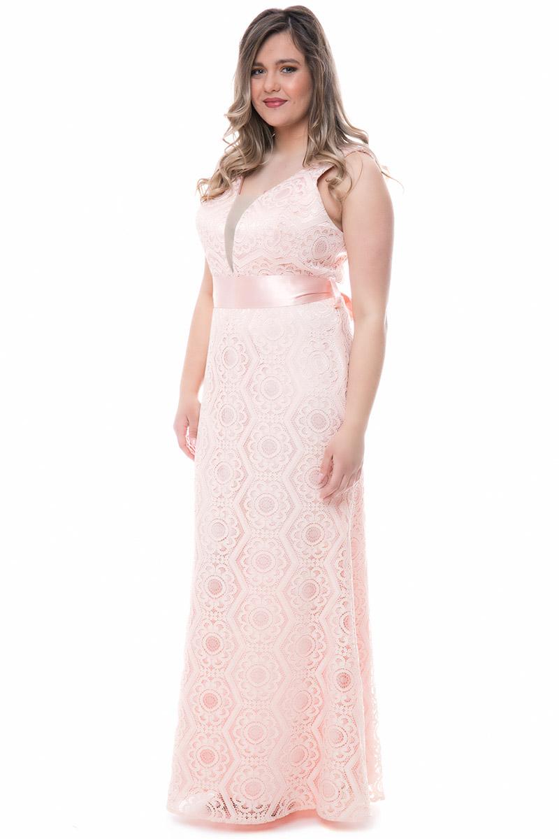 1ee9b4e6b97c Φόρεμα maxi Ροζ χρώμα Διαθέτει δαντέλα και σατέν επένδυση Σατέν ζώνη  Φερμουάρ πίσω Κλειστή λαιμόκοψη με
