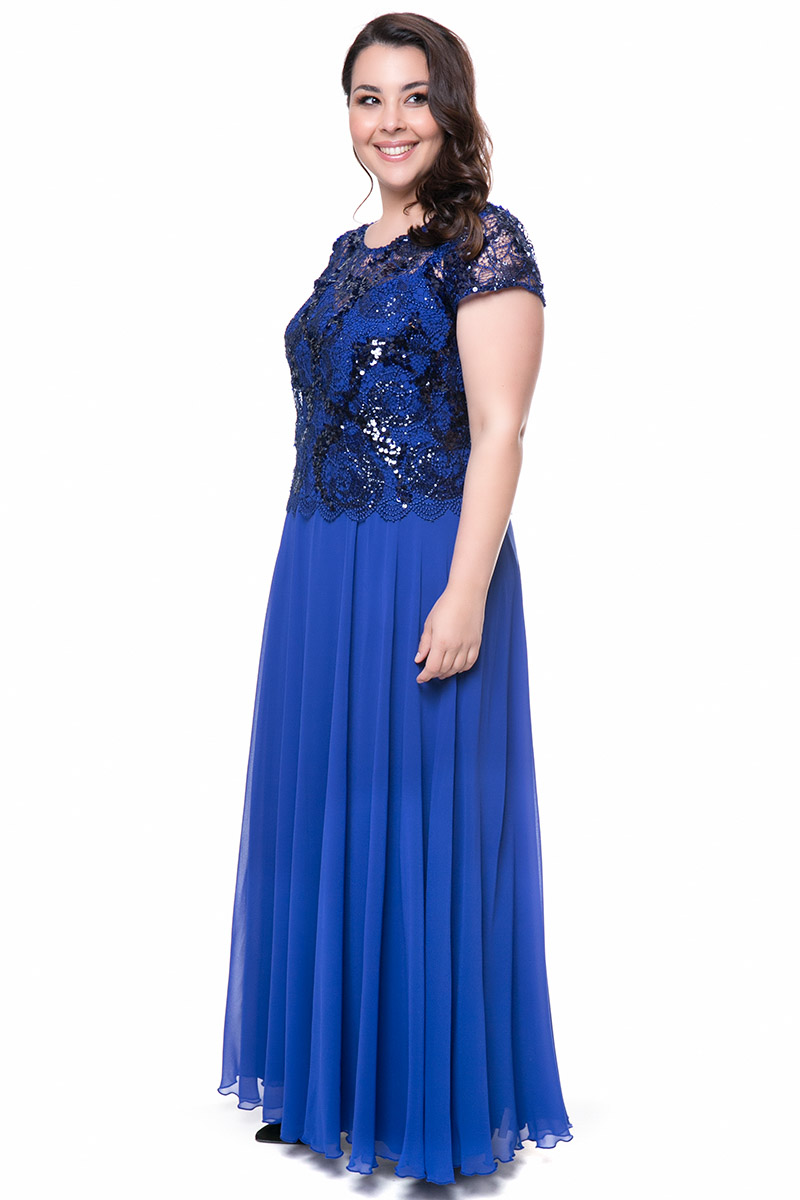 2732b34cad23 Φόρεμα maxi Χρώμα μπλε ρουά Διαθέτει ενσωματωμένο τοπ Ελαστική φόδρα  Φερμουάρ στο πίσω μέρος Κοντά μανίκια