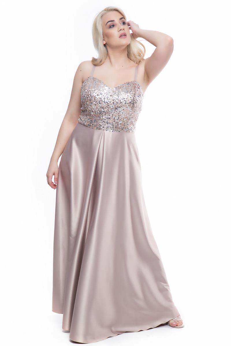 d17216f9a129 Φόρεμα maxi Χρυσό χρώμα Μπούστο όλο παγέτα Φούστα satin-like Λεπτές  τιράντες με ρεγουλατόρ Ζώνη