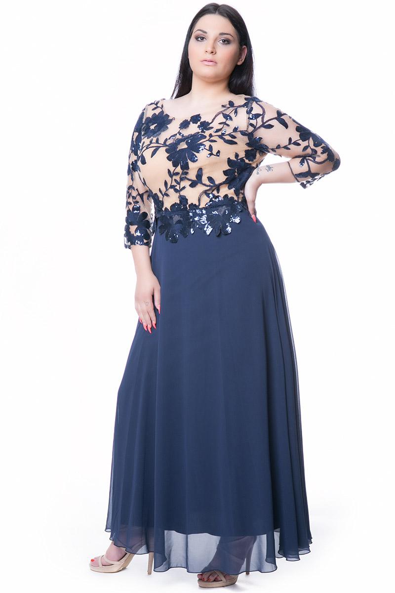 ace706e42e61 Maxi φόρεμα με ημιδιαφανές κεντημένο μπούστο και μανίκι δαντέλα