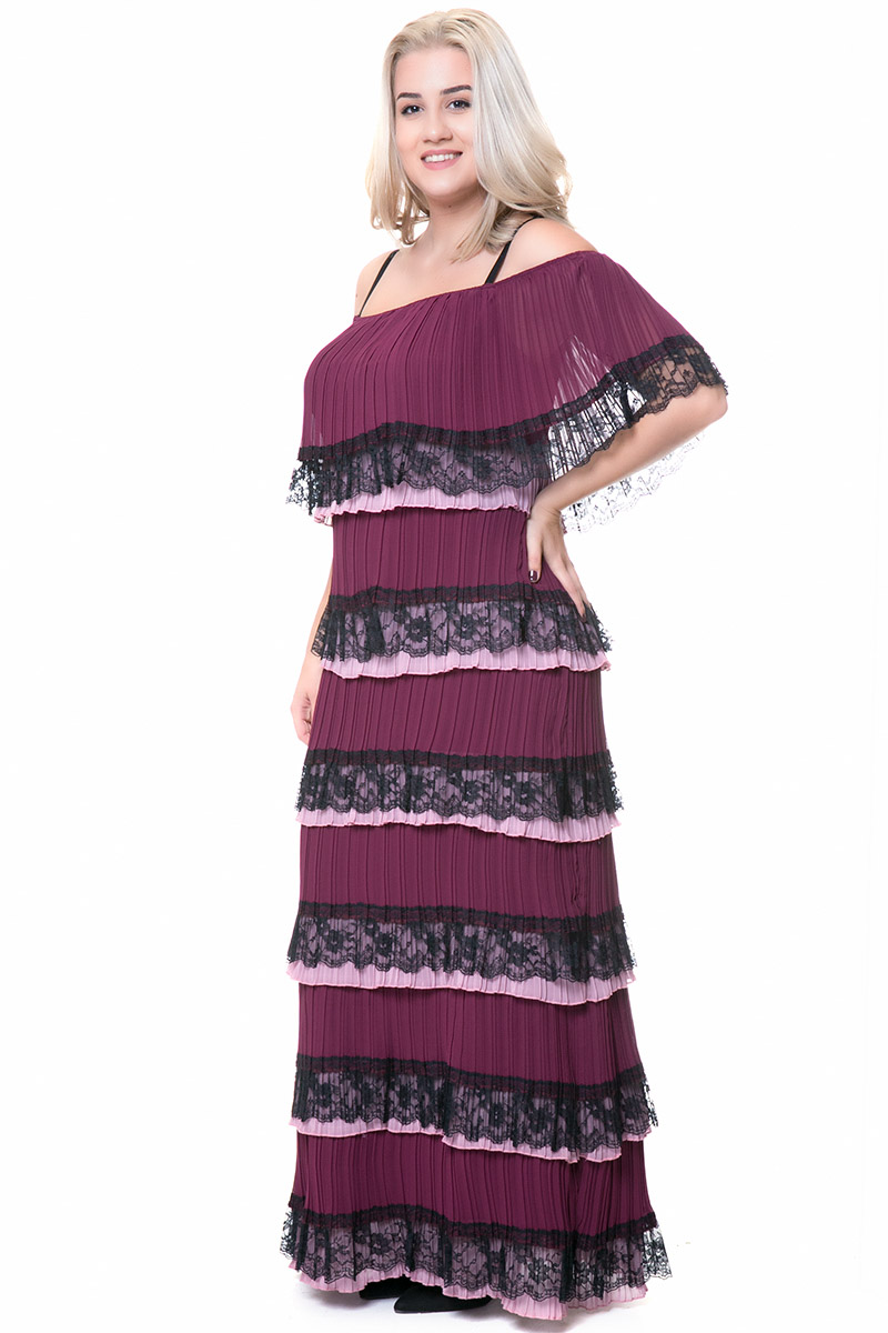 e3a58d1e6e58 Maxi off shoulder plisse φόρεμα σε μαύρο μωβ χρώμα