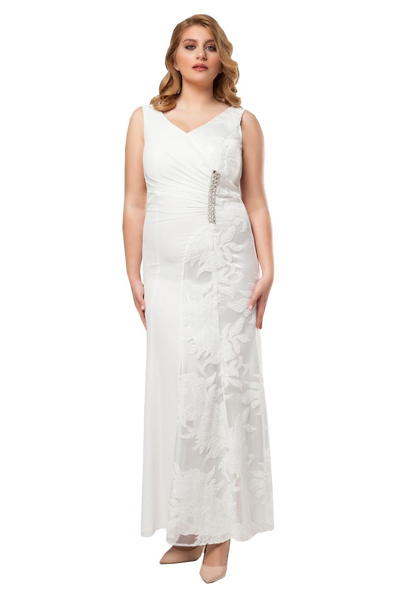 302e054a59e8 Φόρεμα maxi με δαντέλα και στρας σε λευκό χρώμα
