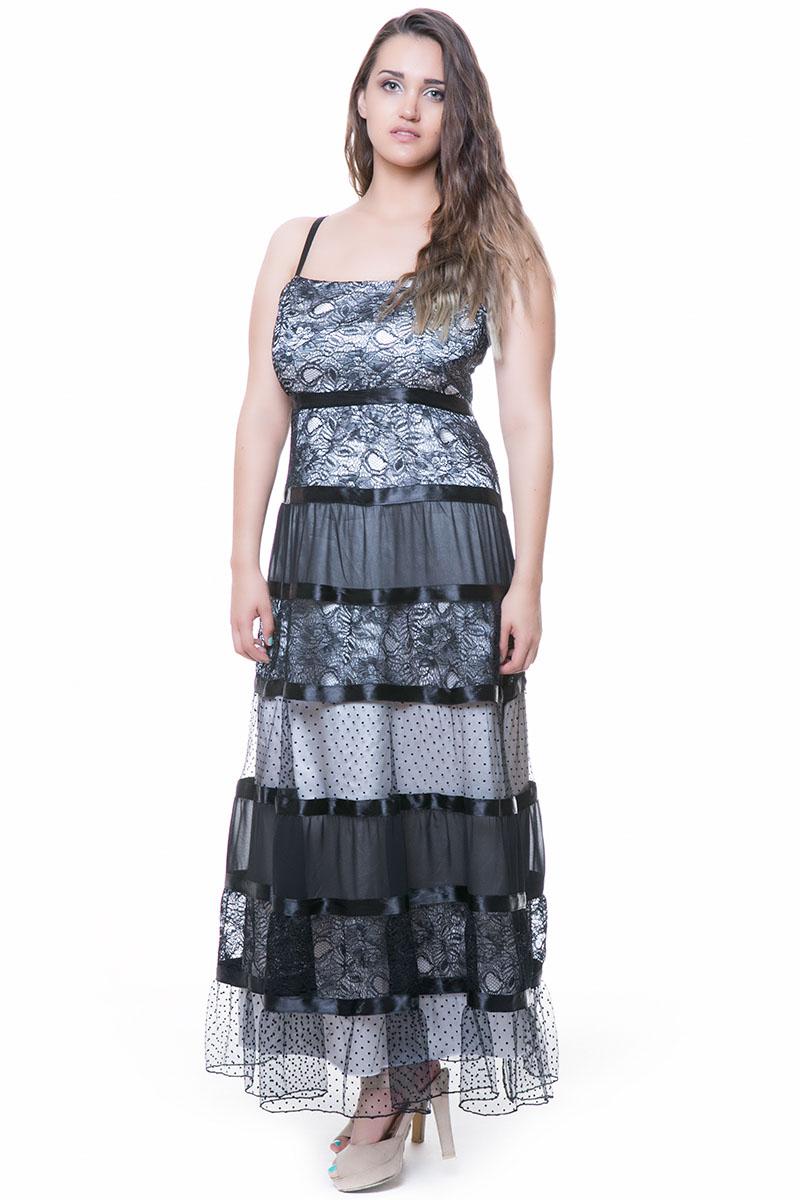 0a342ef32a65 Φόρεμα maxi με δαντέλα και τούλι σε μαύρο εκρού χρώμα