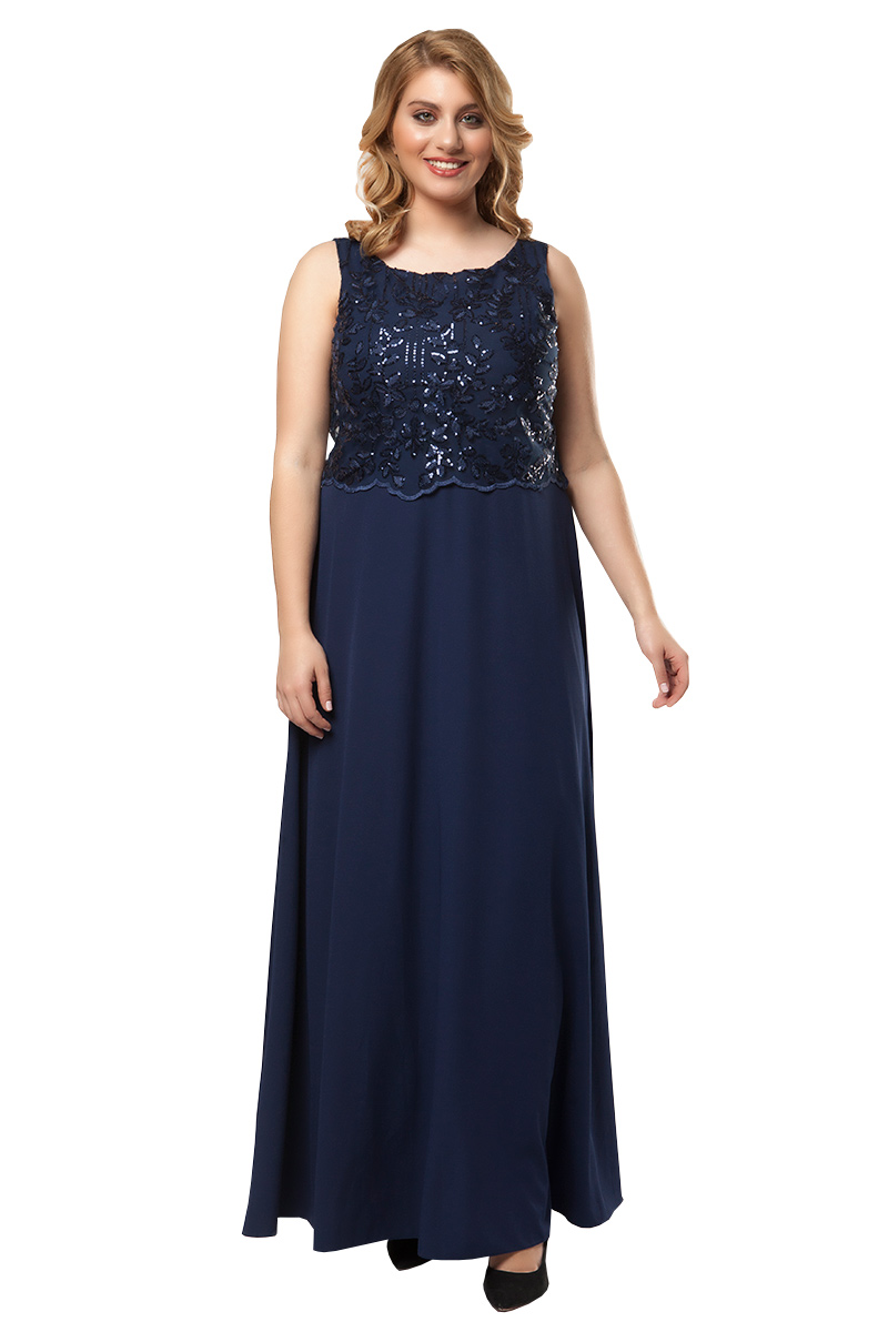 d9925b7dd369 Φόρεμα maxi με κεντημένο κορσάζ σε σκούρο μπλε χρώμα