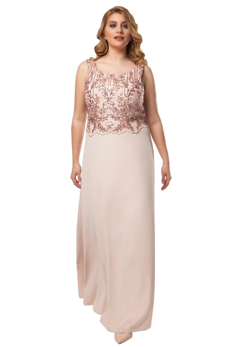 f852637b0c13 Φόρεμα maxi Χρώμα της πούδρας Διαθέτει μουσελίνα Κεντημένο κορσάζ με  παγιέτες Φερμουάρ στο πίσω μέρος και