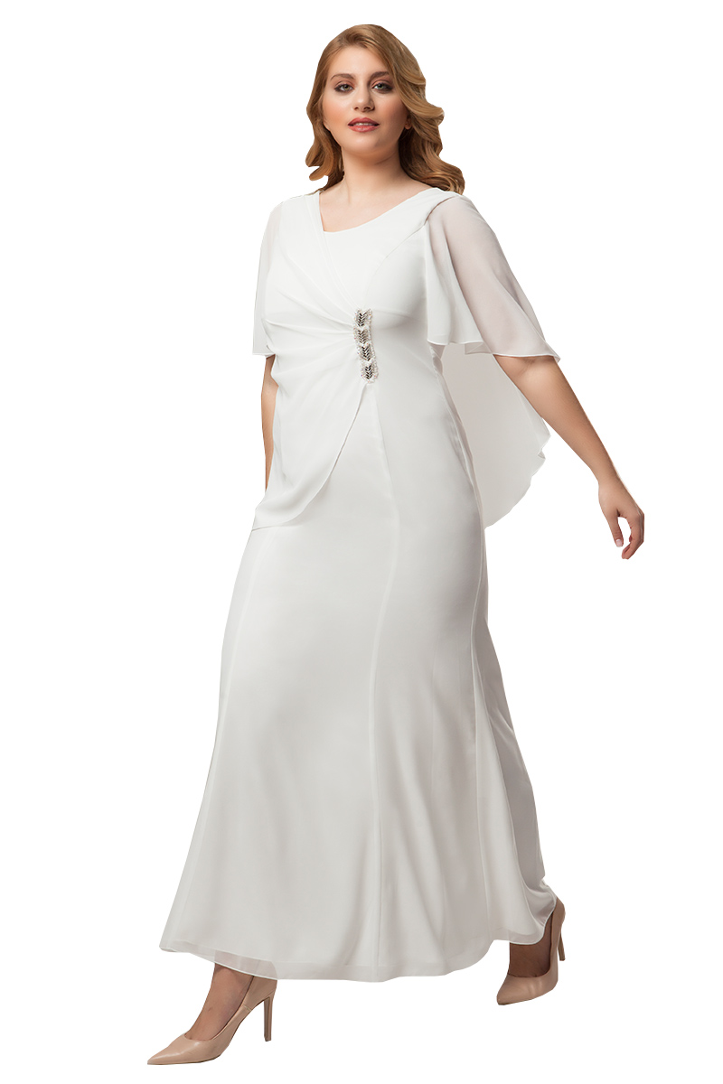 1c9be3ff7bca Φόρεμα maxi με μουσελίνα και στρας σε λευκό χρώμα