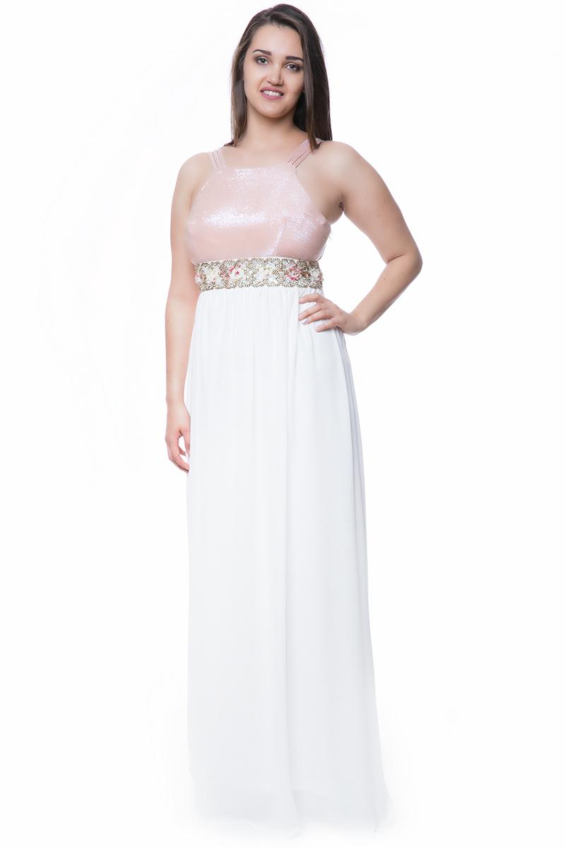 2ccb7a8e1c8b Φόρεμα maxi μεσάτο με floral ζωνάρι σε λευκό χρώμα