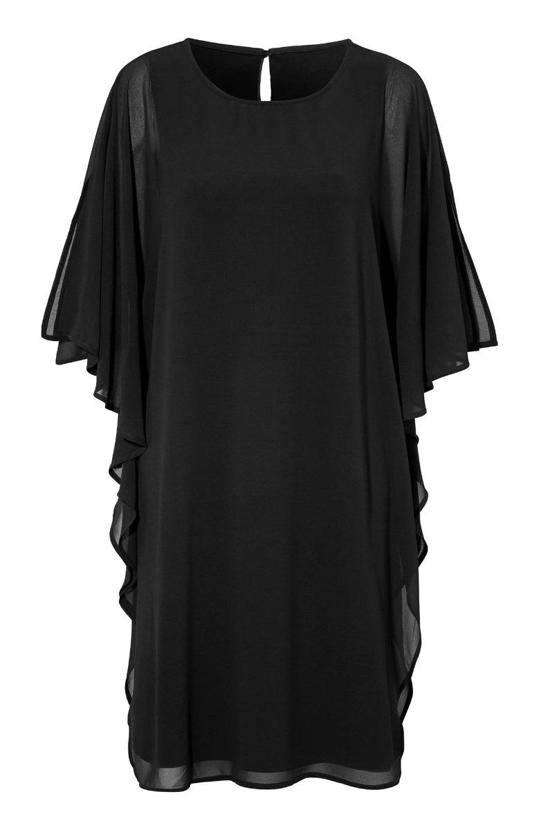 56317dde4891 Midi φόρεμα Χρώμα μαύρο 3 4 μανίκια Ανοιχτή λαιμόκοψη Ίσια γραμμή Ελαστικό  lurex ύφασμα Σύνθεση