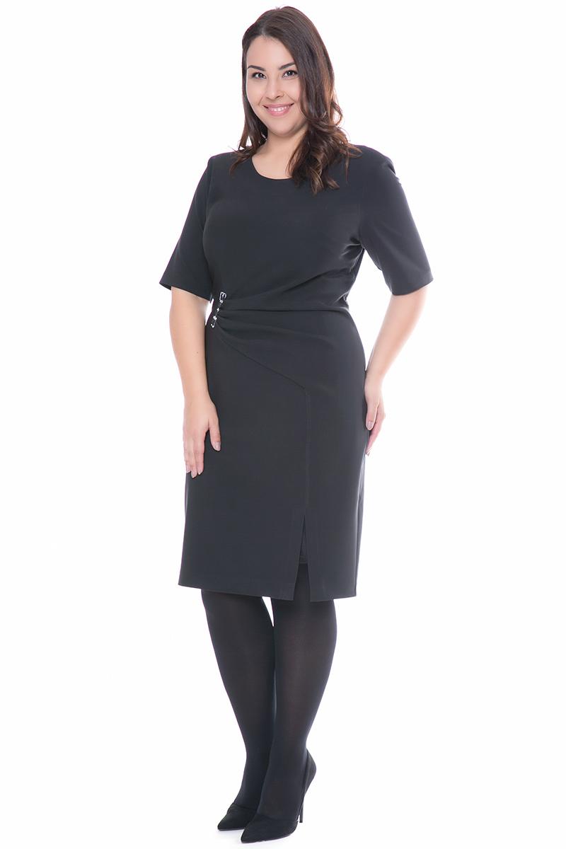 7a69d2c624bd Φόρεμα midi Μαύρο χρώμα Μεσάτη λεπτομέρεια με στρας Κοντά μανίκια Ανοιχτή  λαιμόκοψη Σταθερό ύφασμα Σύνθεση 100