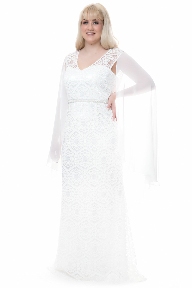 de9d604b40b5 Φόρεμα maxi Χρώμα εκρού Διαθέτει ενσωματωμένη εσάρπα μουσελίνα Δαντέλα  Κλείνει με φερμουάρ Αμάνικο V-λαιμόκοψη