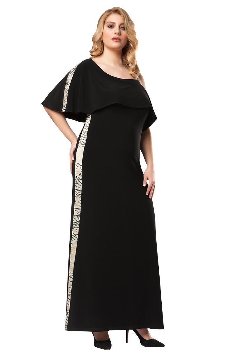 cecb626046e7 Φόρεμα maxi Μαύρο χρώμα Διαθέτει animal print φάσα με παγιέτες κατά μήκος  Βολάν στο ντεκολτέ One