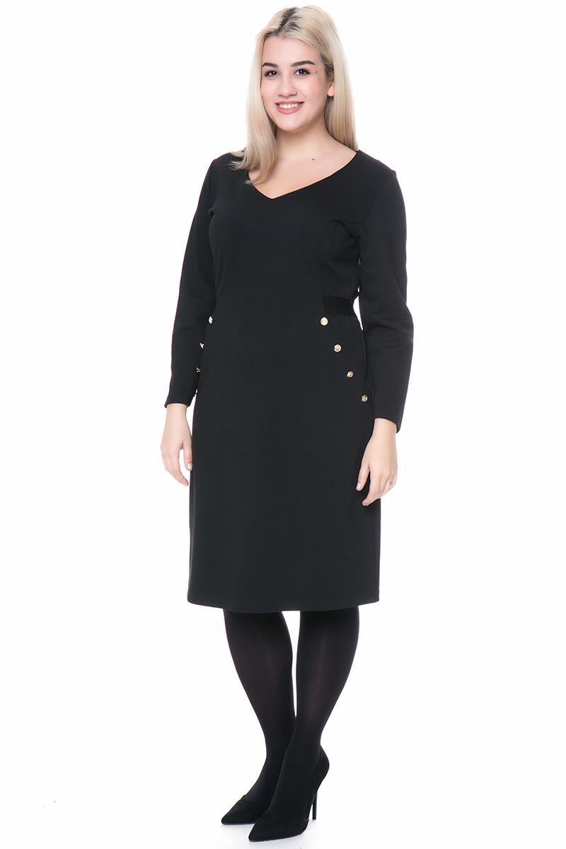 891c2c97b964 Midi φόρεμα Μαύρο χρώμα Μακριά μανίκια V λαιμόκοψη Ίσια γραμμή Σταθερό  ύφασμα Σύνθεση 100%POL