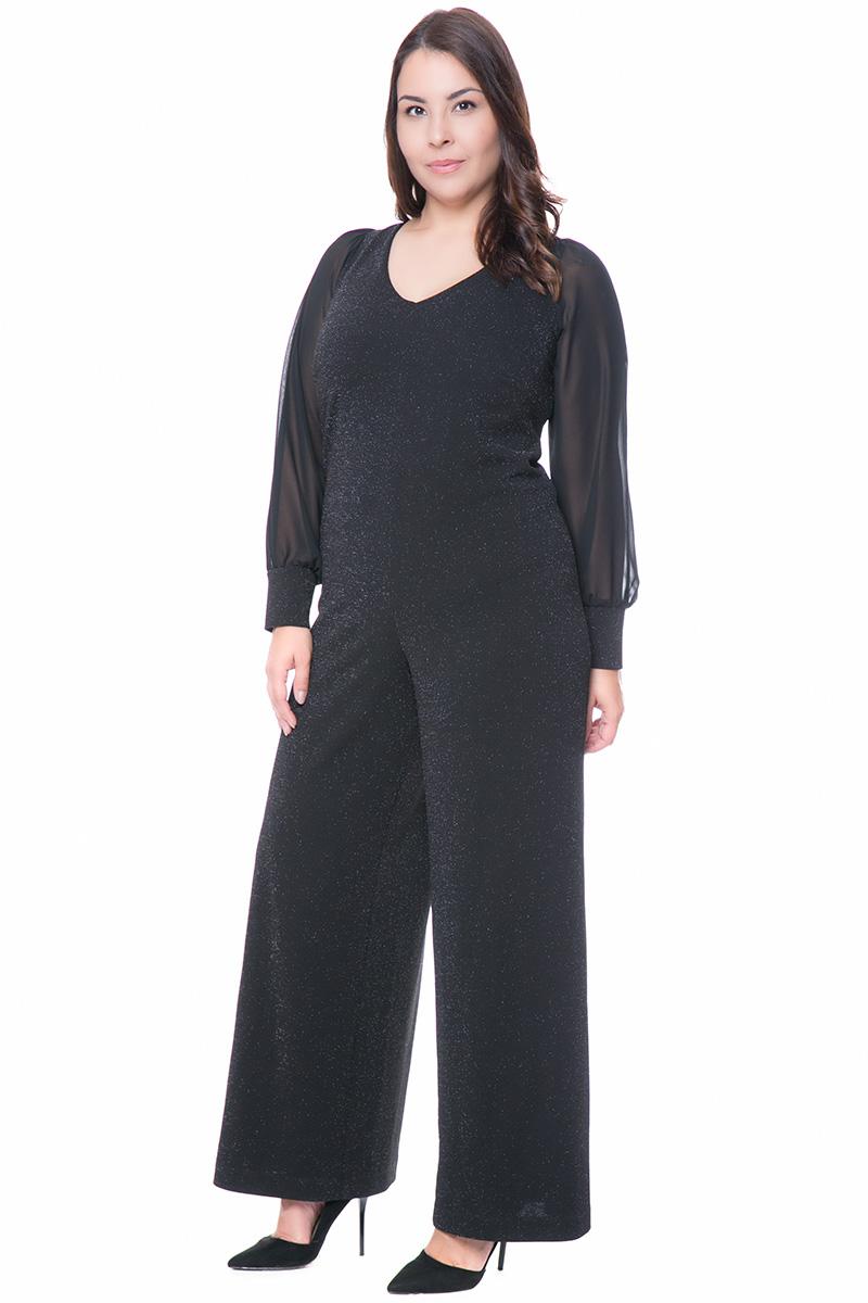 db7a298b86bd Ολόσωμη μαύρη φόρμα με lurex και μουσελίνα