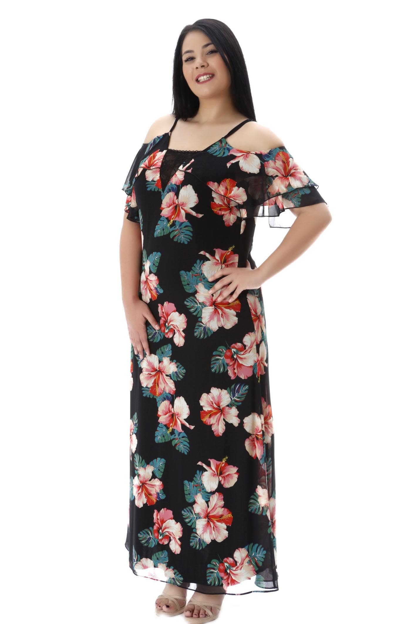 5d0ff9222197 Maxi φόρεμα floral cold shoulders
